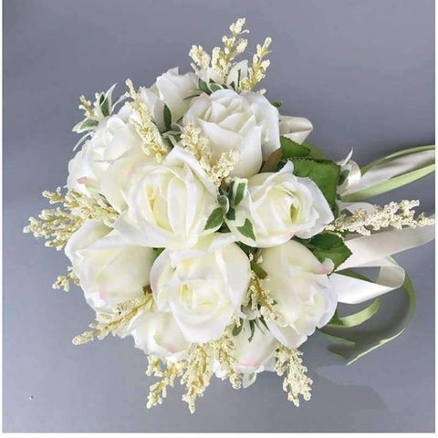 Planet Gates Wedding Bouquets Artificial Flowers 18 White Rose Wheat ears Bridal Party Accessories With Ribbon 2018 New Arrival