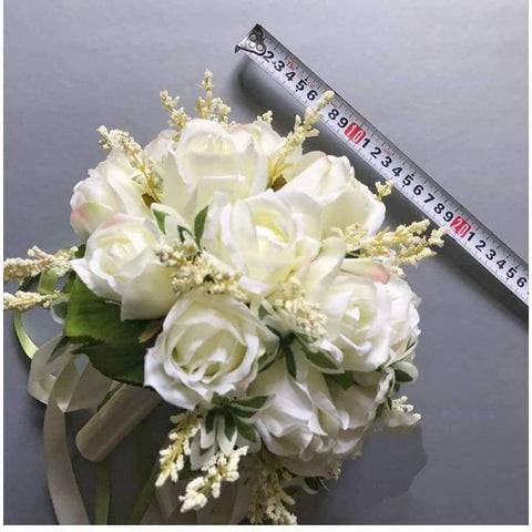 Image of Planet Gates Wedding Bouquets Artificial Flowers 18 White Rose Wheat ears Bridal Party Accessories With Ribbon 2018 New Arrival
