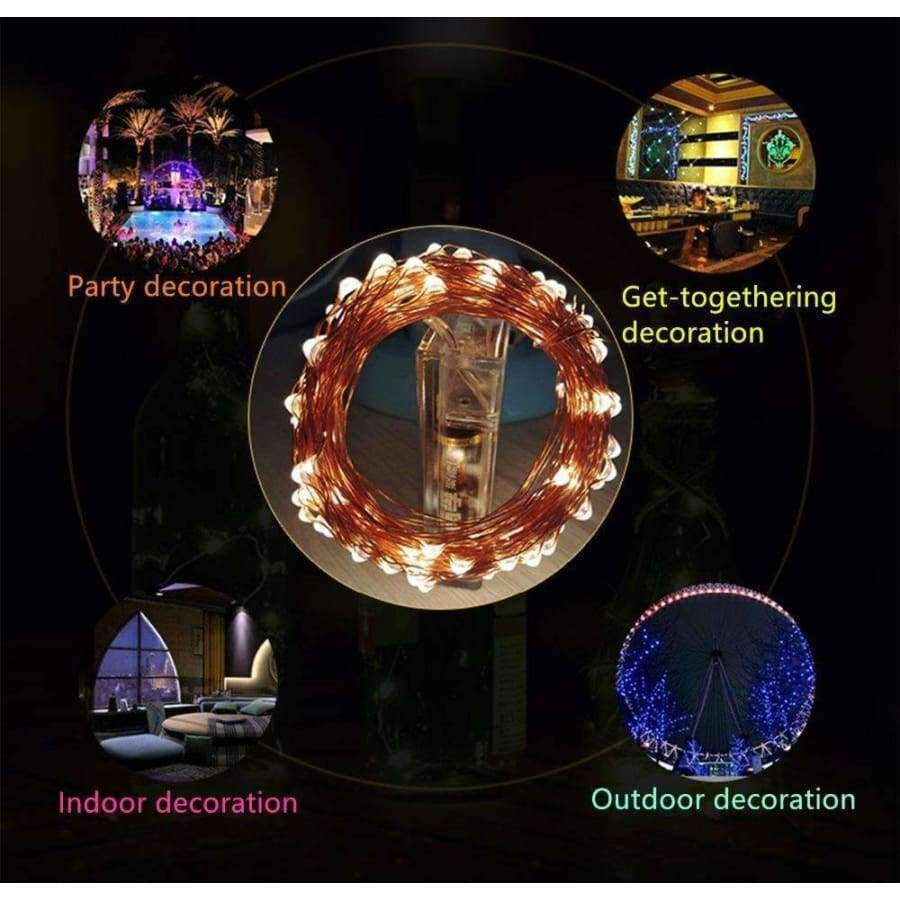 Planet Gates White / 0.06W Christmas New Year atmosphere indoor and outdoor decoration AA battery power supply 10m 100 LED Holiday String lighting