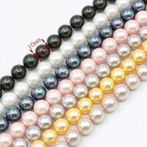 Planet Gates white Charming 10mm Natural Mixed Color Black Shell Pearl Beads DIY Accessories Gift Manual Make Jewelry Wholesale Price AAA+ 16inch