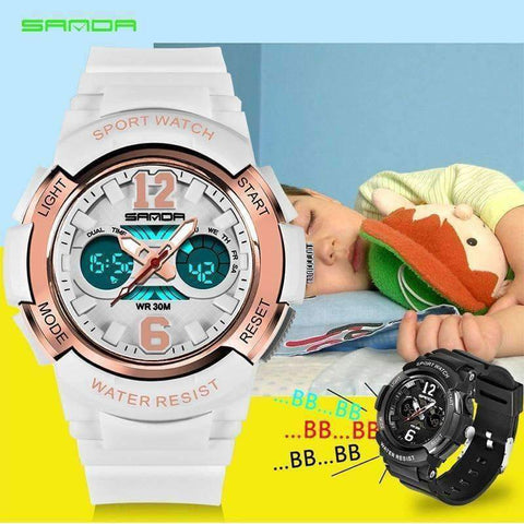 Planet Gates White-gold Children's Watches LED Digital Watches Boys and Girls Students Multifunctional Waterproof Electronic Watch Relogio Masculino