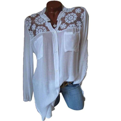 Planet Gates White / L Elegant Women Tops Casual Loose Long Sleeve Plus Size Lace Patchwork Blouse Shirt Autumn Loose V-Neck Pockets Blusas Feminina