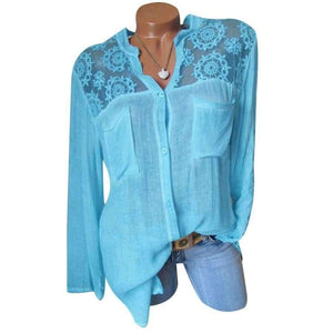 Elegant Women Tops Casual Loose Long Sleeve Plus Size Lace Patchwork Blouse Shirt Autumn Loose V-Neck Pockets Blusas Feminina