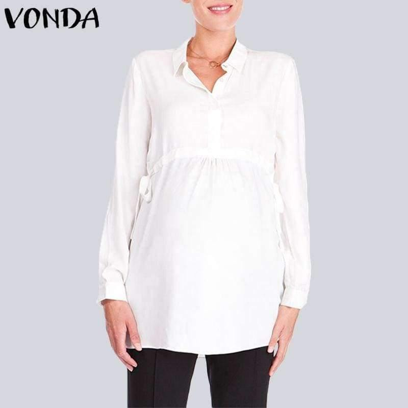 Planet Gates White / S Pregnancy Women White Shirts  Autumn V Neck Full Sleeve Blouse Casual Loose Plus Size Solid Tops Maternity Blusas Femininas