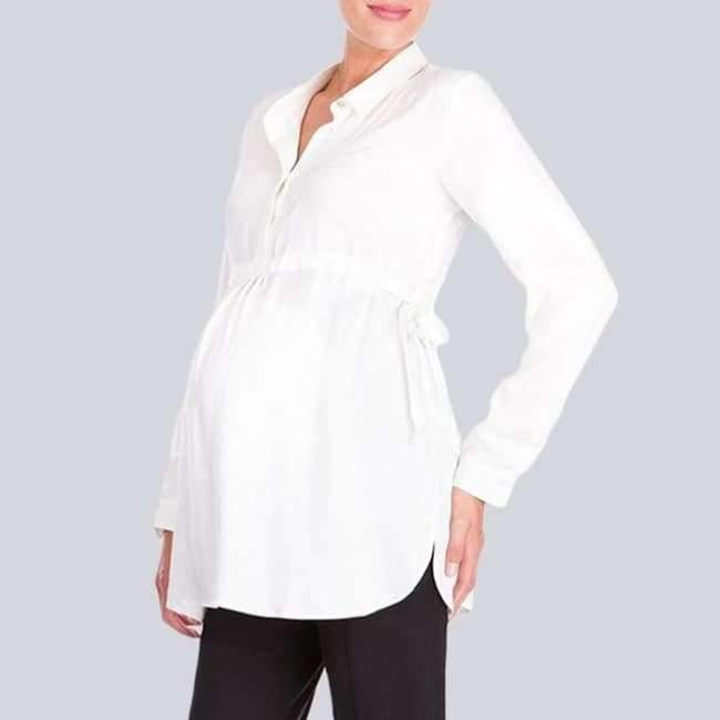 Pregnancy Women White Shirts Autumn V Neck Full Sleeve Blouse Casual Loose Plus Size Solid Tops Maternity Blusas Femininas - White / S