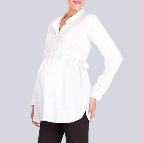 Image of Pregnancy Women White Shirts Autumn V Neck Full Sleeve Blouse Casual Loose Plus Size Solid Tops Maternity Blusas Femininas - White / S