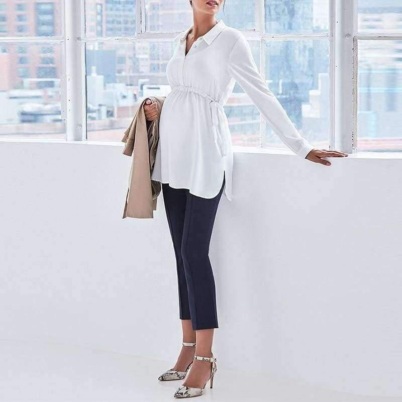 Pregnancy Women White Shirts Autumn V Neck Full Sleeve Blouse Casual Loose Plus Size Solid Tops Maternity Blusas Femininas