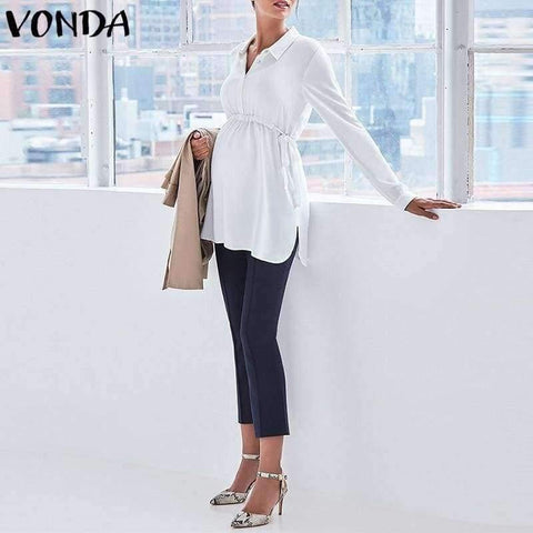 Image of Pregnancy Women White Shirts  Autumn V Neck Full Sleeve Blouse Casual Loose Plus Size Solid Tops Maternity Blusas Femininas