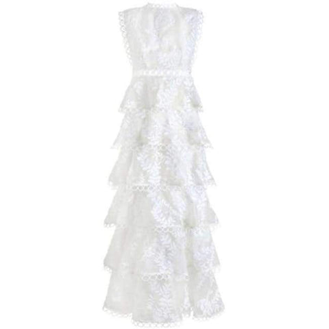 Planet Gates White / S Quality Women Autumn Winter Dress 2018 Self Portrait White Tiered Lace Maxi Dress Ladies Party Event Evening Club