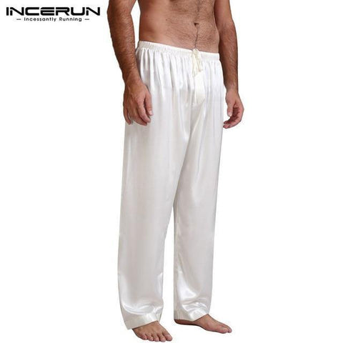 Planet Gates White / S Silk Satin Pajamas Sleep Bottoms Pyjamas Loose Lounge Pants Casual Leisure Lantern Pants Plus Size S-3XL