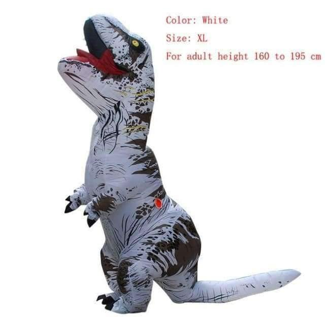 Planet Gates white size XL / T REX Adult  T-REX Inflatable Costume Christmas Cosplay Dinosaur Animal Jumpsuit Halloween Costume for Women Men
