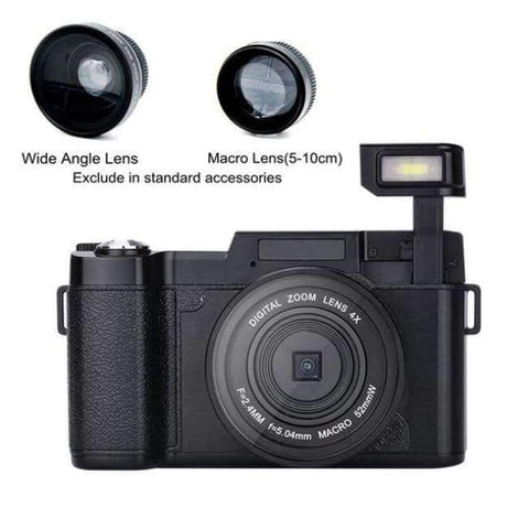 Planet Gates Wide angel macro len / 16GB New DLSR 24MP Wide angle lens Digital Photo Video Camera Camcorder 4X Digital Zoom Rotatable Screen fisheye lens UV lens Camera