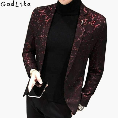Slim Bleiser Masculino 2017 Winter Casual Fit Floral Suit Mens Flower Blazer Party Dress Outfit Pantalon Trendy Blaser Masculino - Win Red /