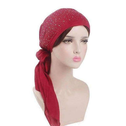 Image of Planet Gates Wine Haimeikang 2018 New Women Chemo Cap Turban Long Hair Band Scarf Head Wraps Hat Boho Pre-Tied Bandana Hair Accessories for Women