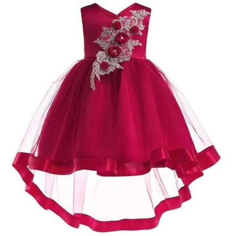 Planet Gates wine Red / 2T Baby Girl embroidery Silk Princess Dress for Wedding party Kids  Dresses for Toddler Girl Children Fashion Christmas Clothing