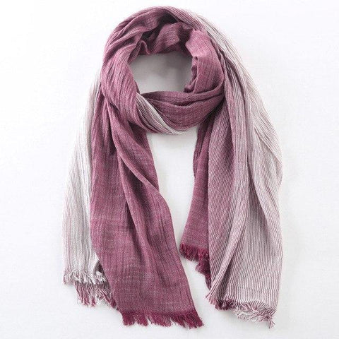 Planet Gates wine red Winter Scarf Women and Men Striped Cotton Linen Scarfs Vintage Oversized Shawls and Scarves