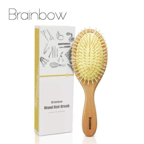 Image of Planet Gates Wooden Comb Scalp Massage Brush Natural Wood Needle Healthy Comb Antistatic Cushion Hair Brush Hair Care Styling Tools