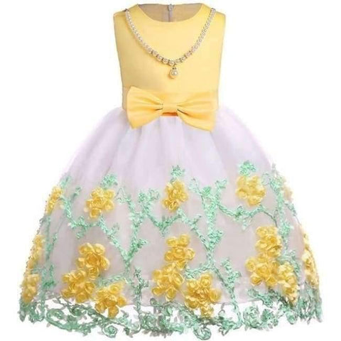 Planet Gates yellow 1 / 2T Baby Girl embroidery Silk Princess Dress for Wedding party Kids  Dresses for Toddler Girl Children Fashion Christmas Clothing