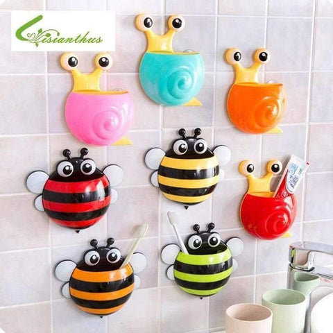 Image of Planet Gates yellow honeybee Bathroom Products Sets Cartoon Ladybug Snails Toothbrush Toothpaste Holder Wall Sucker Suction Hook Tooth Brush Holder