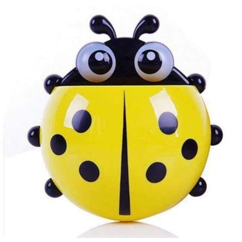Image of Planet Gates yellow ladybug Bathroom Products Sets Cartoon Ladybug Snails Toothbrush Toothpaste Holder Wall Sucker Suction Hook Tooth Brush Holder
