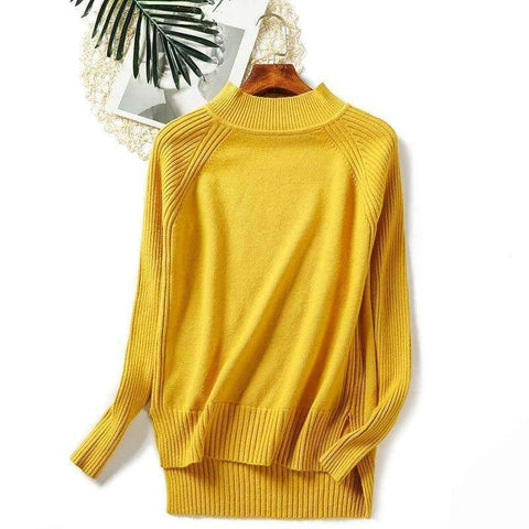 Planet Gates Yellow / One Size Women turtleneck sweaters knitted pullovers long sleeves basic irregular tricots autumn winter wool tops warm loose All Match