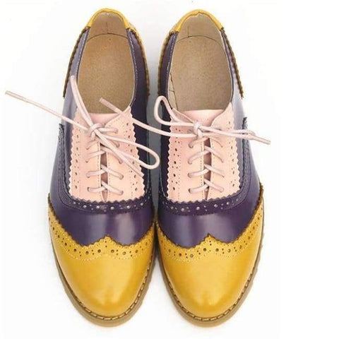 Image of Planet Gates yellow purple pink / 5.5 women genuine leather oxford shoes woman flats handmade vintage retro lace up loafers brown casual sneakers flat shoes for women