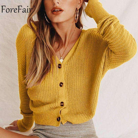 Image of Planet Gates Yellow / S Casual Cardigan Sweater Women Autumn Long Sleeve Crop Top Lantern Sleeve Coat Knitted Female Jumper Ladies Sweater Coat