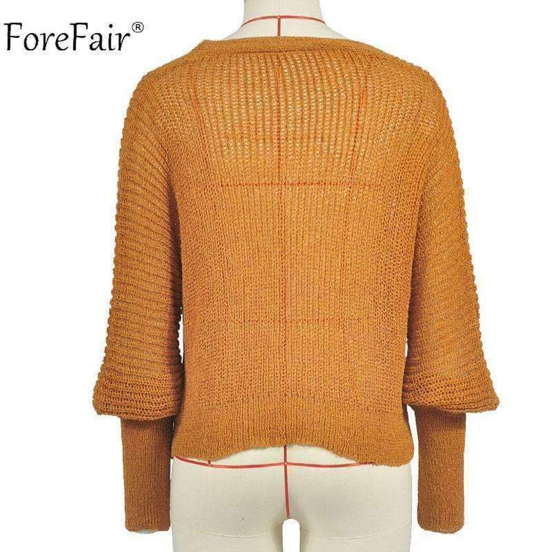 Planet Gates Yellow / S Casual Cardigan Sweater Women Autumn Long Sleeve Crop Top Lantern Sleeve Coat Knitted Female Jumper Ladies Sweater Coat
