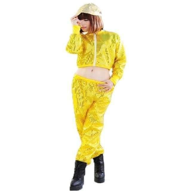 Planet Gates yellow set / S Adult Jazz Hiphop Modern Dance Wear Paillette Stage Performance Clothing woman sequins Cheerleading dance costuems