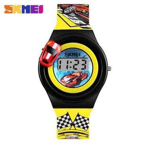 Planet Gates Yellow SKMEI 1376 Children Cartoon Creative Digital Watches Kids Fashion Car Outdoor Wristwatches For Boys Girls Student Casual Watch