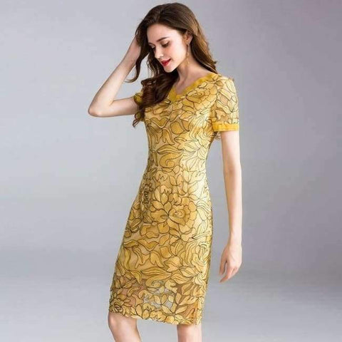 Planet Gates yellow / XL Womens Fashion Summer Party Event Dress 2018 Ladies V-Neck Allover Exquisite Embroidery Lace up Dress Knee Length