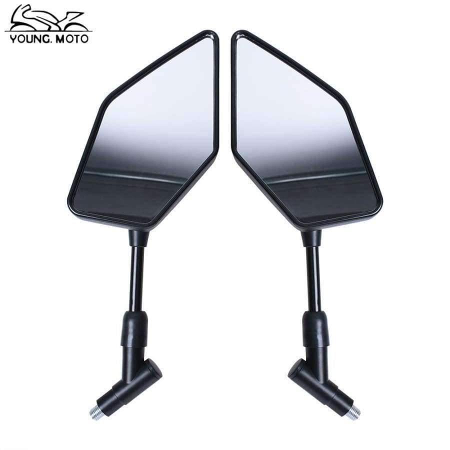 Planet Gates YOUNGMOTO 1 Pair Black Motorcycle Rear View Mirrors Aluminum Stem Convex Glass Motocross Parts 10MM for Harley Yamaha Suzuki
