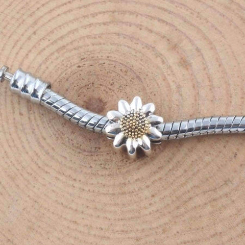 Planet Gates ZMZY Vintage 925 Sterling Silver Charms Sunflower Beads Fits Pandora Charm Bracelet DIY Making Women Jewelry