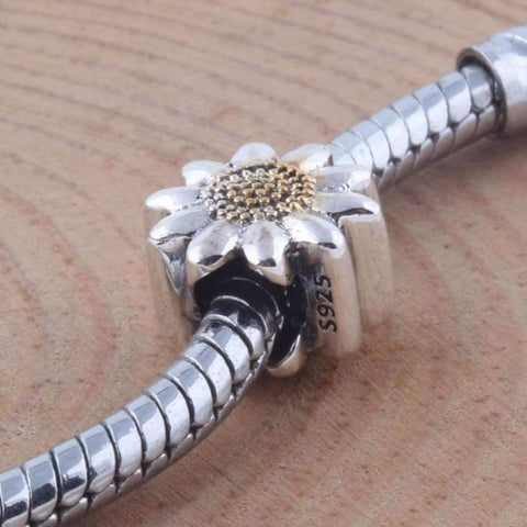 Image of Planet Gates ZMZY Vintage 925 Sterling Silver Charms Sunflower Beads Fits Pandora Charm Bracelet DIY Making Women Jewelry