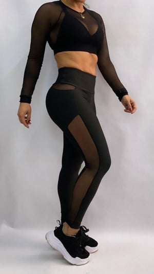 2-Piece Set with Ilusion Leggings and Mesh Crop Top