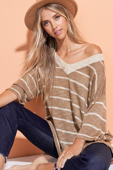 Soft Textured & Thread Stripe Loose Fit Sweater Women's Short Sleeve Cultured Cloths