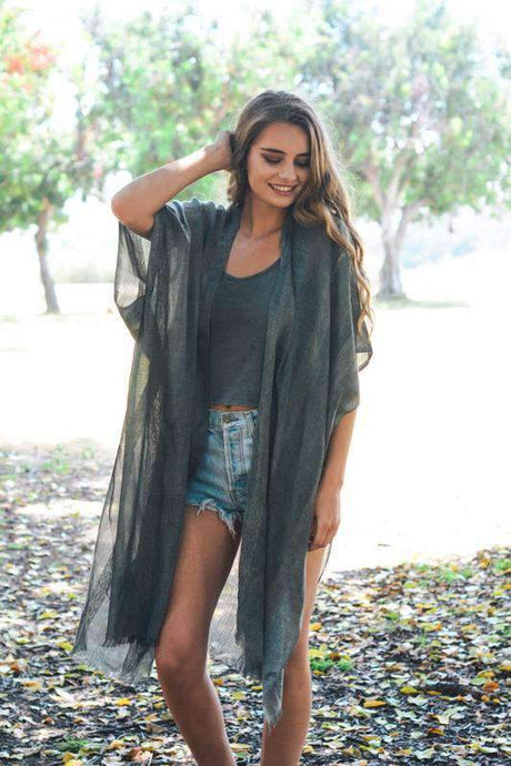 Charcoal Woven Long Line Tribal Kimono Wrap -One Size / Charcoal -One Size - Cardigans - Snips and Snails Boutique