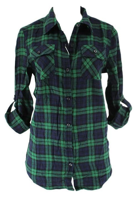 Green and Navy Rolled Sleeve Plaid Flannel Shirt - - - Women's Long Sleeve - Snips and Snails Boutique
