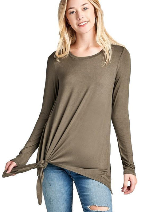 Long Sleeve Round Neck Side Knot Top - - - Women's Long Sleeve - Snips and Snails Boutique
