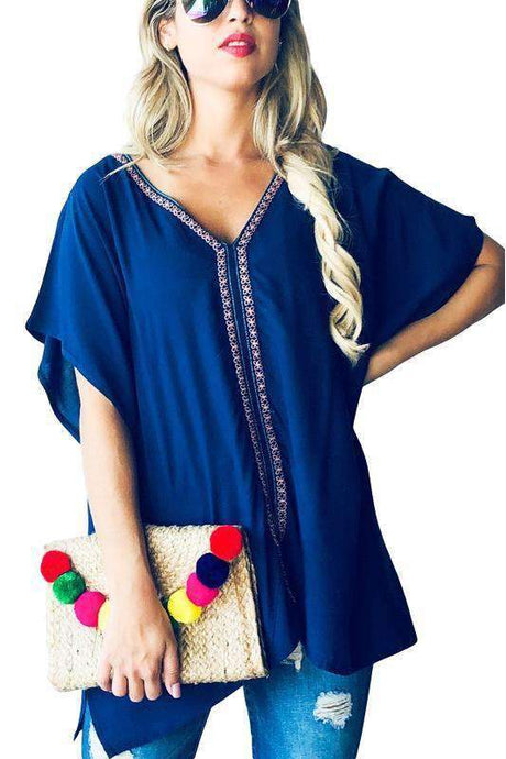 Navy Embroidered Poncho Kimono Top - - - Women's Short Sleeve - Snips and Snails Boutique