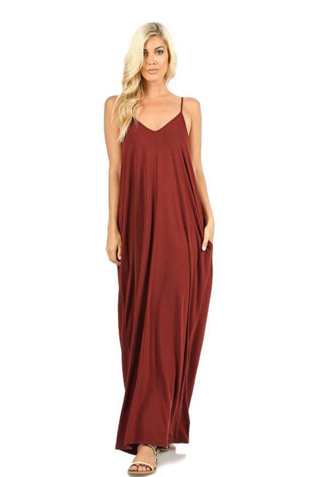 Fired Brick Long Maxi Dress with Pockets