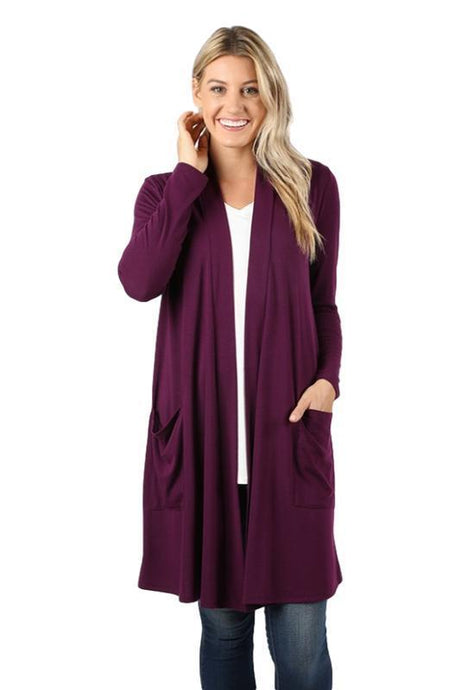 Dark Plum Slouchy Pocket Open Cardigan - - - Cardigans - Snips and Snails Boutique