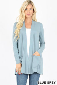 Slouchy Pocket Open Front Cardigan -BLUE GREY / SMALL -BLUE GREY - Cardigans - Snips and Snails Boutique