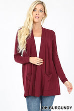 Load image into Gallery viewer, Slouchy Pocket Open Front Cardigan -CABERNET / SMALL -CABERNET - Cardigans - Snips and Snails Boutique