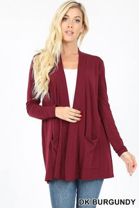 Slouchy Pocket Open Front Cardigan -CABERNET / SMALL -CABERNET - Cardigans - Snips and Snails Boutique