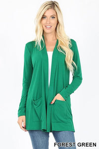 Slouchy Pocket Open Front Cardigan -FOREST GREEN / SMALL -FOREST GREEN - Cardigans - Snips and Snails Boutique