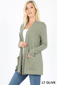 Slouchy Pocket Open Front Cardigan -LT OLIVE / X-LARGE -LT OLIVE - Cardigans - Snips and Snails Boutique