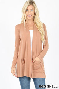 Slouchy Pocket Open Front Cardigan -EGG SHELL / SMALL -EGG SHELL - Cardigans - Snips and Snails Boutique