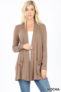 Slouchy Pocket Open Front Cardigan -MOCHA / SMALL -MOCHA - Cardigans - Snips and Snails Boutique