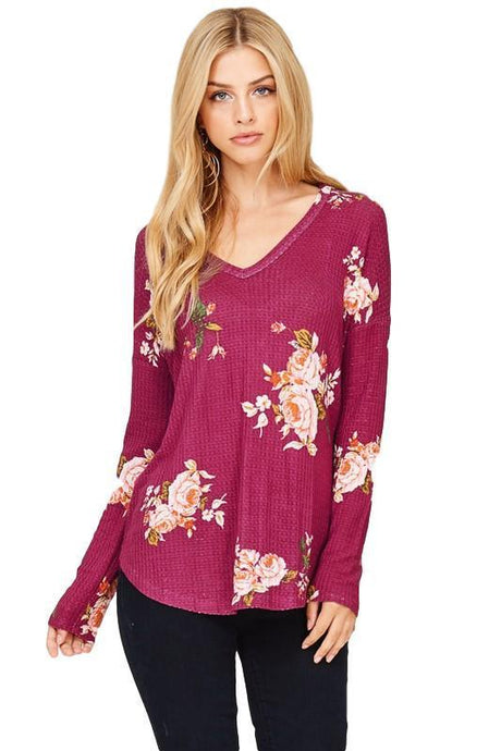 Beautiful Berry Floral Waffle Knit Tunic - - - Women's Long Sleeve - Snips and Snails Boutique